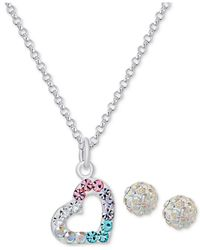 Macy's - Metallic Colored And Clear Crystal Heart Necklace And Stud Earrings Set In Sterling Silver - Lyst