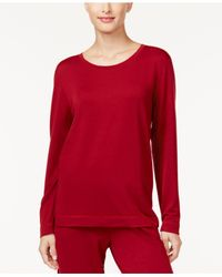 Hue - Red French Terry Pajama T-shirt - Lyst