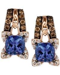 Le Vian - Blue Tanzanite (9/10 Ct. T.w.) And Diamond (3/8 Ct. T.w.) Earrings In 14k Rose Gold - Lyst