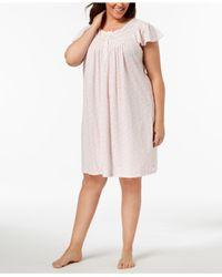 Miss Elaine - Pink Plus Size Knit Picot-trim Nightgown - Lyst