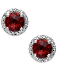 Macy's | Red Garnet (2-1/10 Ct. T.w.) And Diamond Accent Halo Stud Earrings In 14k White Gold | Lyst
