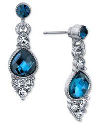 2028 | Metallic Silver-tone Clear & Blue Crystal Drop Earrings | Lyst