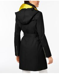 Vince Camuto - Black Hooded Asymmetrical Trench Coat - Lyst