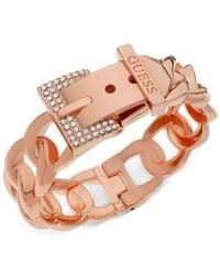 Guess - Pink Rose Gold-tone Crystal Buckle Hinge Bangle Bracelet - Lyst
