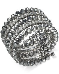 INC International Concepts - Metallic Hematite-tone Coil Wrap Beaded Bracelet - Lyst
