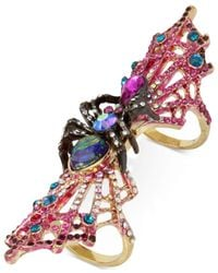 Betsey Johnson - Multicolor Two-tone Multi-stone Spider & Web Double Finger Ring - Lyst