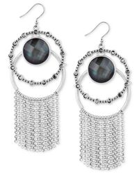 Lucky Brand - Metallic Silver-tone Multi-stone Double Hoop Fringe Drop Earrings - Lyst