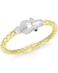 Macy's - Metallic Diamond Horseshoe Bangle Bracelet (1/2 Ct. T.w.) In 14k Gold-plated Sterling Silver - Lyst