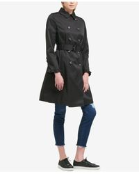 DKNY - Black Belted Ruffle-sleeve Trench Coat - Lyst