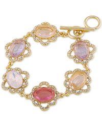 Carolee - Metallic Gold-tone Multi-stone And Pavé Link Bracelet - Lyst