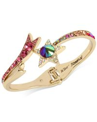 Betsey Johnson - Metallic Gold-tone Multi-stone Shooting Star Hinged Bangle Bracelet - Lyst