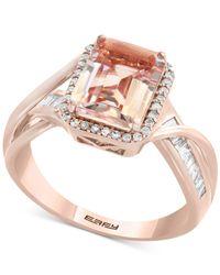 Effy Collection - Metallic Morganite (1-9/10 Ct. T.w.) & Diamond (1/4 Ct. T.w.) Ring In 14k Rose Gold - Lyst