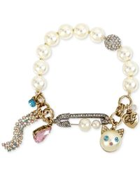 Betsey Johnson - Metallic Two-tone Multi-stone & Imitation Pearl Cat Charm Stretch Bracelet - Lyst