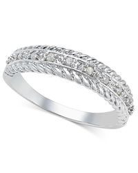 Macy's | Metallic Diamond Textured Band (1/10 Ct. T.w.) In Sterling Silver | Lyst