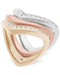 Michael Kors - Metallic Tri-tone 3-pc. Set Pavé Rings - Lyst
