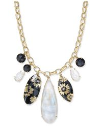 Kate Spade - Metallic Gold-tone Multi-stone Statement Necklace - Lyst