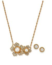Charter Club - Metallic Gold-tone Cubic Zirconia And Imitation Pearl Flower Pendant Necklace & Stud Earrings Set - Lyst