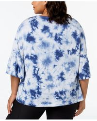 Calvin Klein - Blue Performance Plus Size Tie-dyed Ruffled-sleeve Top - Lyst