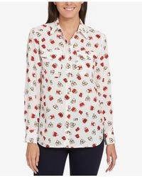 Tommy Hilfiger - Red Printed Blouse - Lyst