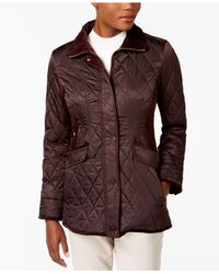 Vince Camuto - Multicolor Velvet-trim Quilted Coat - Lyst