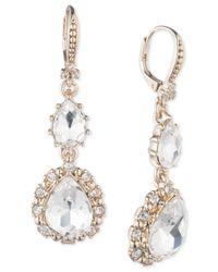 Marchesa - Metallic Gold-tone Crystal Double Drop Earrings - Lyst