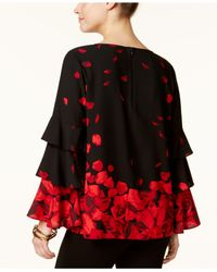 Alfani - Black Ruffle-sleeve Printed Top - Lyst