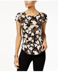 Alfani - Black Printed T-shirt, Created For Macy's - Lyst