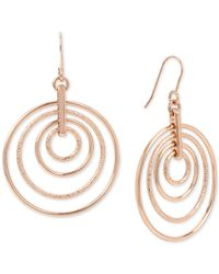Kenneth Cole - Metallic Rose Gold-tone Orbital Drop Earrings - Lyst