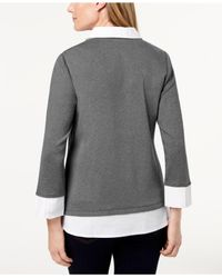 Karen Scott - Gray Cotton Layered-look Top, Created For Macy's - Lyst