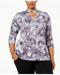Style & Co. | Purple Plus Size Printed Choker-neck Tunic, Created For Macy's | Lyst