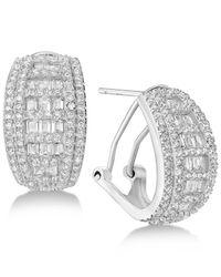 Macy's - Metallic Cubic Zirconia Baguette Hoop Earrings In Sterling Silver - Lyst