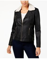 Style & Co. - Black Faux-leather Sherpa Jacket - Lyst
