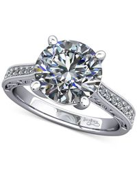 Macy's - Diamond Artisan Solitaire Mount Setting With Filigree (1/6 Ct. T.w.) In 14k White Gold - Lyst