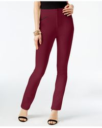 INC International Concepts - Red Faux-leather-trim Straight Pants - Lyst