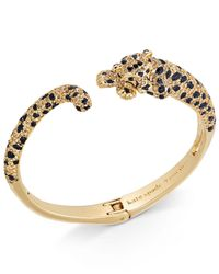 Kate Spade   Metallic Gold-tone Yellow Pavé & Jet Stone Cheetah Hinged Cuff Bracelet   Lyst