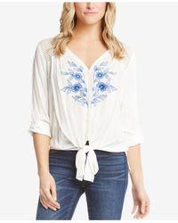 Karen Kane - White Tie-front Embroidered Top - Lyst