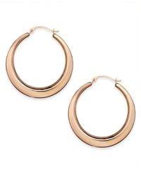 Macy's | Metallic 10k Rose Gold Earrings, Polished Gradient Key Hoops | Lyst