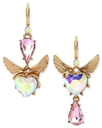 Betsey Johnson - Gold-tone Pink & Iridescent Stone Winged Heart Mismatch Earrings - Lyst