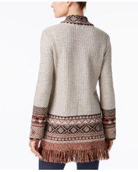 Style & Co. | Brown Petite Jacquard Fringe Cardigan | Lyst