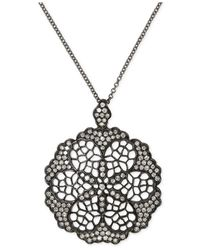 Effy Collection - Metallic Diamond Openwork Flower Pendant Necklace (5/8 Ct. T.w.) In Black Rhodium Plated 14k White Gold - Lyst