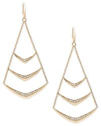 Michael Kors - Metallic Knife Edge Pavé Chandelier Earrings - Lyst