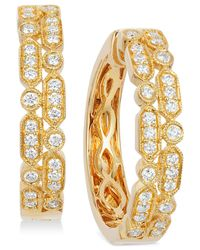Le Vian - Metallic Diamond Patterned Hoop Earrings (5/8 Ct. T.w.) In 14k Gold - Lyst