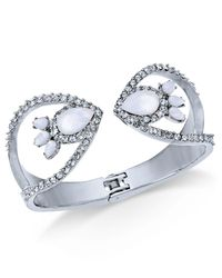 INC International Concepts - Metallic I.n.c Silver-tone Stone & Pavé Hinge Cuff Bracelet, Created For Macy's - Lyst