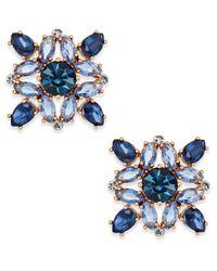 Kate Spade - Blue Rose Gold-tone Multi-crystal Stud Earrings - Lyst