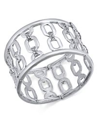 INC International Concepts - Metallic I.n.c. Silver-tone Wide Link Stretch Bracelet, Created For Macy's - Lyst