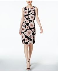 Ivanka Trump - Black Floral-print Scuba Popover Dress - Lyst