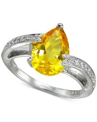 Giani Bernini - Metallic Cubic Zirconia Teardrop Swirl Ring In Sterling Silver - Lyst