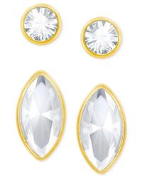 Swarovski - Metallic Gold-tone 2-pc. Set Crystal Stud Earrings - Lyst