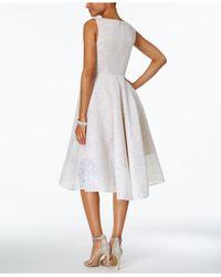 Adrianna Papell - White V-neck A-line Dress - Lyst