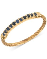 Charriol - Metallic Women's Laetitia Blue Sapphire Accent Gold-tone Pvd Stainless Steel Cable Ring 02-424-1222-0-56 - Lyst